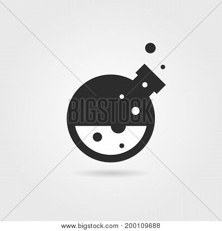 simple black lab icon with shadow. concept of creativity, material synthesis, process, assay, toxic, industry. isolated on gray background. flat style trend modern lab logo design vector illustration