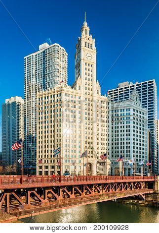 Chicago - March 2017, IL, USA: View of the Wrigley Building and DuSable Bridge in downtown Chicago.