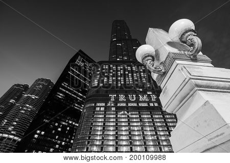 Chicago - March 2017, IL, USA: The Trump Tower skyscraper at night. High rise building of one of the most famous skyscrapers in the city of Chicago, black and white photo