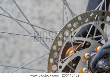 Front brakes on a modern mountain bicycle. Brake disc
