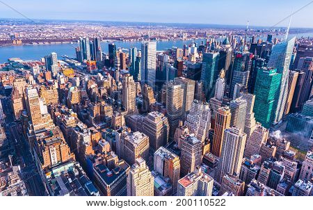 New York - April 2015, USA: Aerial panorama of downtown Manhattan viewed from The Empire State Building. Wide angle perspective