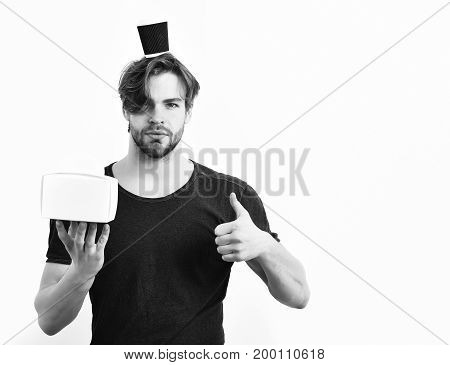 Caucasian Sexy Young Macho Holding Male Box With Coffee Cup