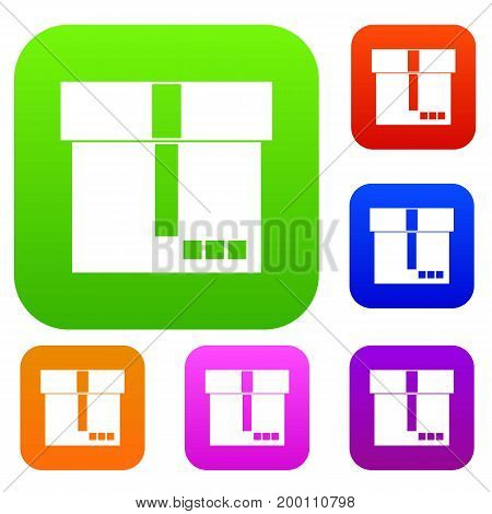Box set icon in different colors isolated vector illustration. Premium collection