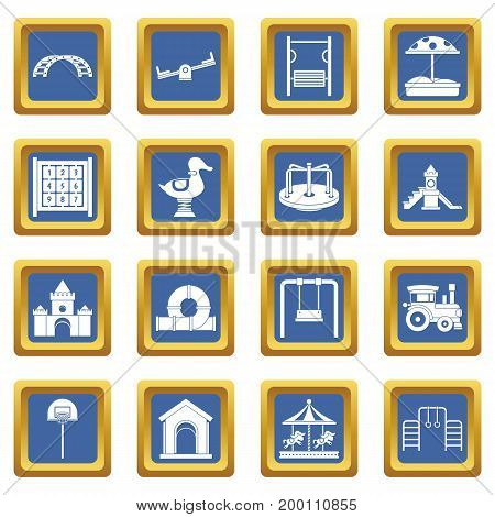 Playground icons set in blue color isolated vector illustration for web and any design