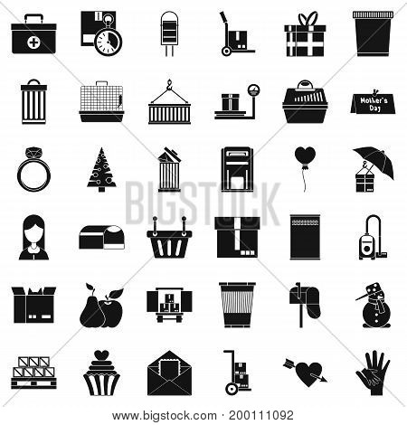 Big box icons set. Simple style of 36 big box vector icons for web isolated on white background