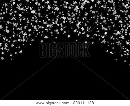 Silver stars falling from the sky. Abstract arc background. Glitter pattern for banner. Vector illustration on black background.