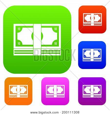Bundle of money set icon in different colors isolated vector illustration. Premium collection