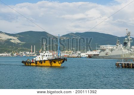 Novorossiysk, Russia - July 07, 2017: A tourist boat docks in the Black Sea port of the Russian city of Novorossiysk