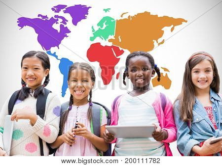 Digital composite of Multicultural Kids on devices in front of colorful world map