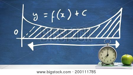 Digital composite of Clock and apple on Desk foreground with blackboard graphics of equations formula diagram