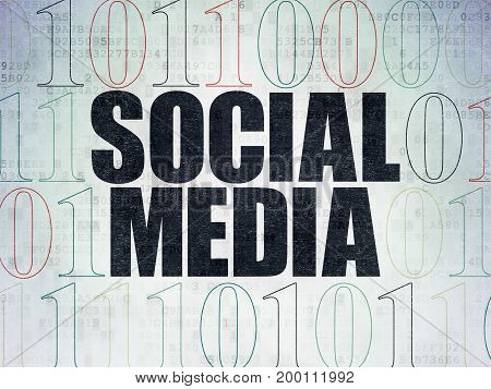Social media concept: Painted black text Social Media on Digital Data Paper background with Binary Code