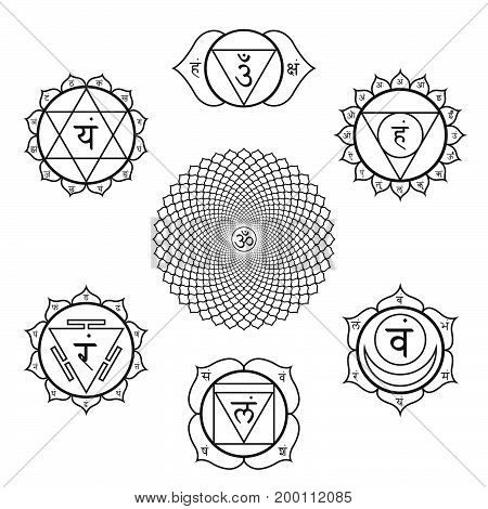 Vector Chakras Symbols Set Illustration.