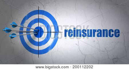 Success Insurance concept: arrows hitting the center of target, Blue Reinsurance on wall background, 3D rendering