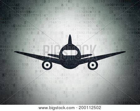 Vacation concept: Painted black Aircraft icon on Digital Data Paper background