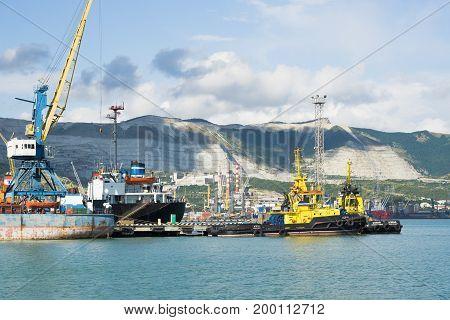 Novorossiysk, Russia - July 07, 2017: Black Sea port by sea vessels in the city of Novorossiysk in Russia