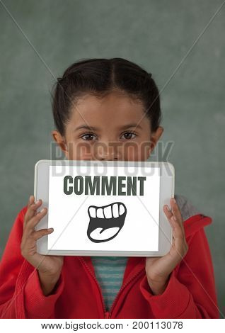 Digital composite of Comment text and cartoon mouth graphic on tablet screen with girl
