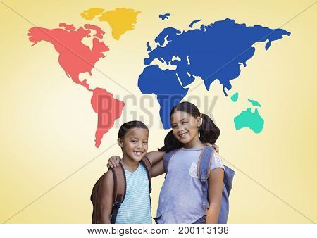 Digital composite of School Kids hugging in front of colorful world map