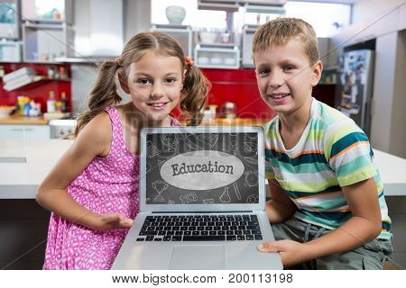 Digital composite of Kids looking at a computer with school icons on screen