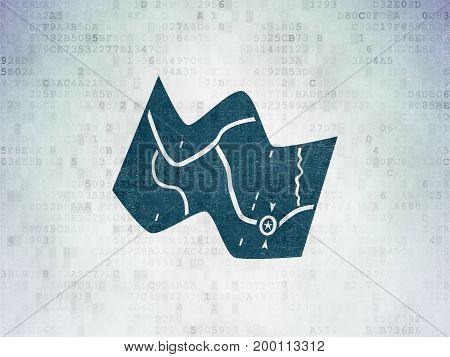 Vacation concept: Painted blue Map icon on Digital Data Paper background