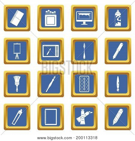 Design and drawing tools set. Simple illustration of 16 design and drawing tools vector icons set in blue color isolated vector illustration for web and any design