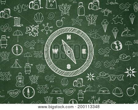 Vacation concept: Chalk White Compass icon on School board background with  Hand Drawn Vacation Icons, School Board