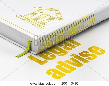 Law concept: closed book with Gold Courthouse icon and text Legal Advise on floor, white background, 3D rendering
