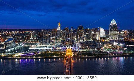 A Drone Photo of Cincinnati Skyline View At Night