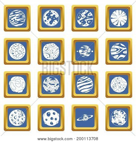 Fantastic planets icons set in blue color isolated vector illustration for web and any design