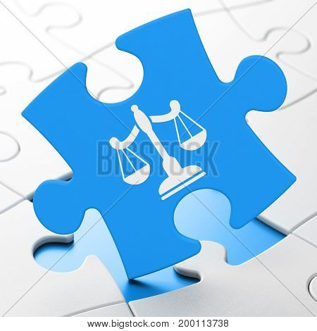 Law concept: Scales on Blue puzzle pieces background, 3D rendering