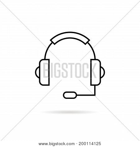 black thin line headphone with shadow. concept of ask, ui, tech, callback, crm, faq, feedback, e-commerce. isolated on white background. flat style trend modern logotype design vector illustration