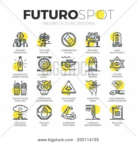 Stroke line icons set of future world dystopia nuclear disaster. Modern flat linear pictogram concept. Premium quality outline symbol collection. Simple vector material design of web graphics.