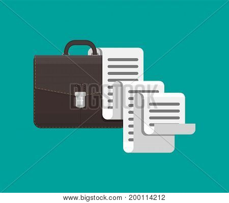 Leather business briefcase and big long document sheet. Office contracts, agreements, reports. Bag of lawyer with docs and forms. Vector illustration in flat style