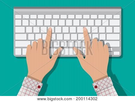 Modern aluminum computer keyboard. Hands of user. Wireless input device. Vector illustration in flat style