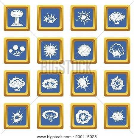 Explosion icons set in blue color isolated vector illustration for web and any design