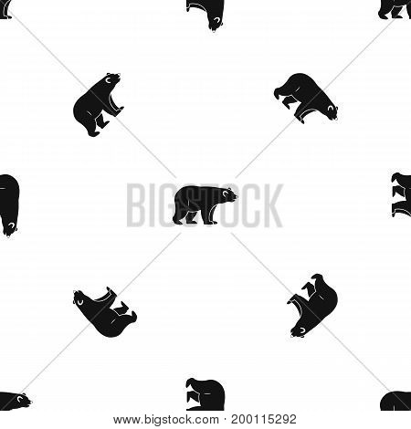 Wild bear pattern repeat seamless in black color for any design. Vector geometric illustration