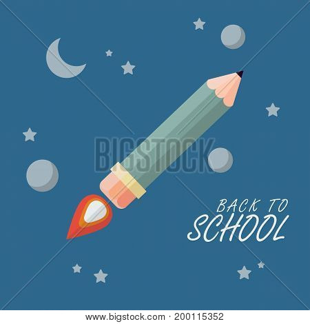Back to school. Pencil rocket flies into space