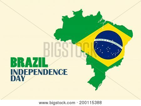 Brazil Independence Day with Brazil map. Vector illustration