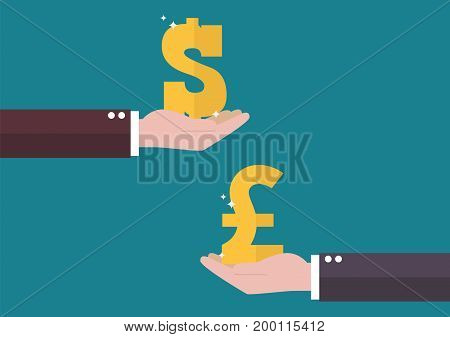 Currency exchange Dollar and Pound sterling. Business concept