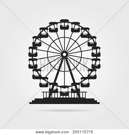 black ferris wheel with shadow. concept of skyline, tower badge, event, admission, access, cityscape, pleasure, celebration. flat style trend modern logo design vector illustration on gray background