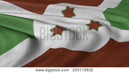 3D illustration of Burundi flag fluttering in light wind.
