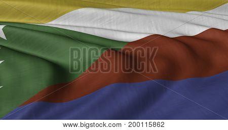 3D illustration of Comoros flag fluttering in lightwind.