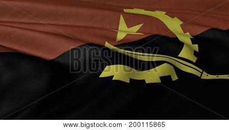 3D Illustration of Angolan flag fluttering in light wind.