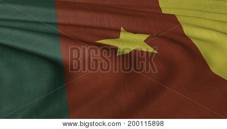 3D Illustration of Cameroon Flag fluttering in light wind.