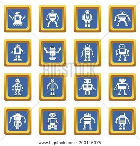 Robot icons set in blue color isolated vector illustration for web and any design