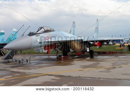 Moscow Region - July 21 2017: Russian multipurpose superarmane fighter Su-35 (on the codification of NATO: Flanker) at the International Aviation and Space Salon (MAKS) in Zhukovsky.