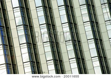 Tilted Building Feature With Sparkling Glass Curtain Wall