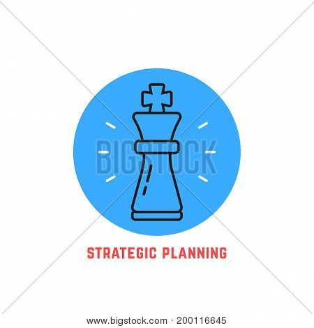 blue round strategic planning logo. concept of adversary, player, career, boss, leisure, goal, idea, power, attack, analysis. flat style modern logotype design vector illustration on white background