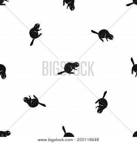Canadian beaver pattern repeat seamless in black color for any design. Vector geometric illustration