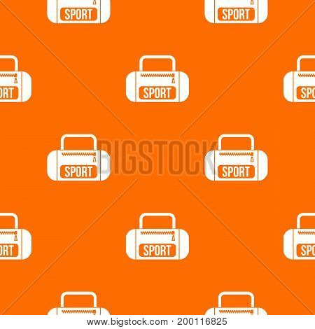 Sports bag pattern repeat seamless in orange color for any design. Vector geometric illustration