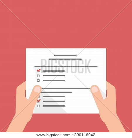 hand holding sheet with exam test. concept of filling tax form, assess paperwork, routine, reminder do job, person, correspondence. flat style trend modern design vector illustration on red background
